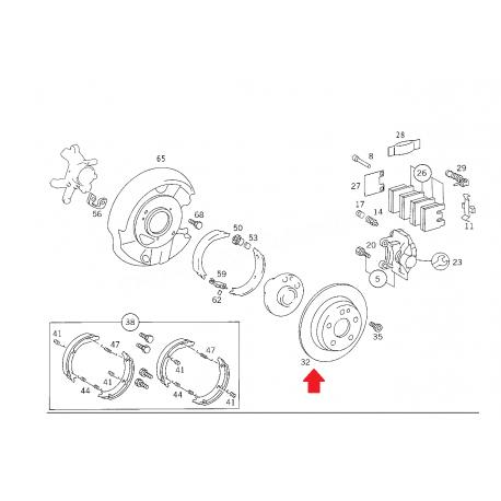 MERCEDES W124 E KASA ARKA DİSK ORJİNAL 2 ADET FİYATIDIR A1244230612 +